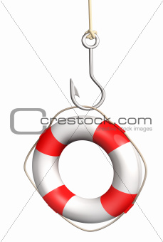 Lifebuoy on a fishing hook