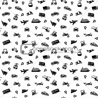 Seamless backdrop, transport icons - 10eps