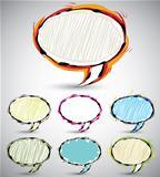 Sketch style speech bubbles.