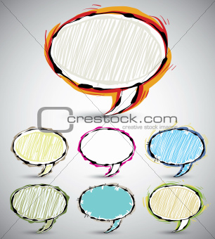 Sketch style speech bubbles.