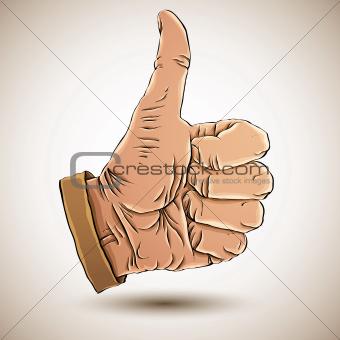 Thumb up like hand.