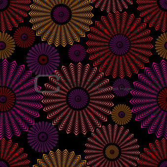 Ornate circles seamless pattern.
