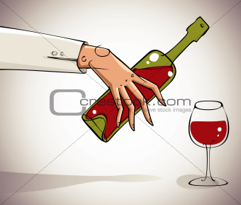 Hand pouring wine into glass.