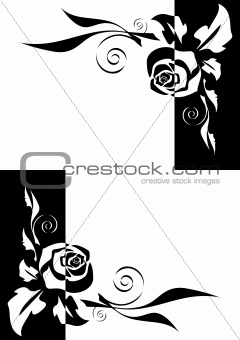 Abstract black and white roses corners