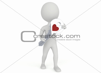 3d humanoid character hold a key