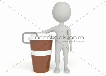 3d humanoid character plastic cup coffee