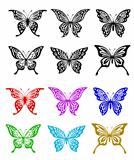 Butterfly set in colorful and monochrome style