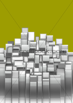 3d curved rectangular silver chrome shapes on yellow