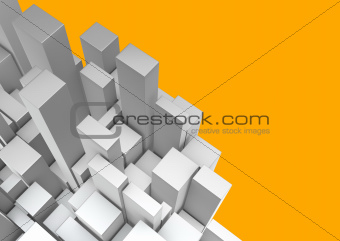 3d composition silver chrome rectangular shapes on orange