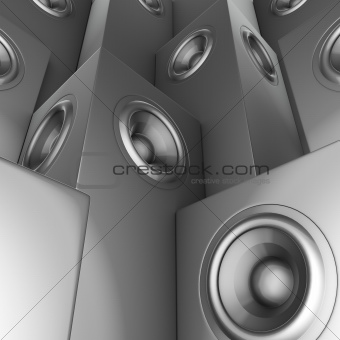 3d render of silver chrome sound-system deejay dj set