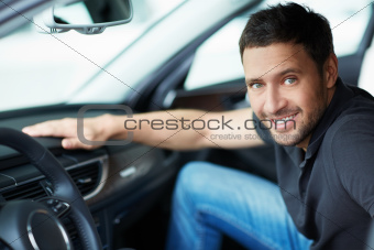 Man in a car