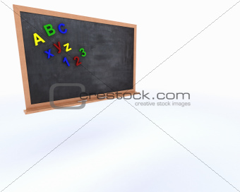 Chalkboard with magnetic letters