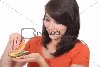 Girl looking burger