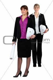two businesswomen on a construction site
