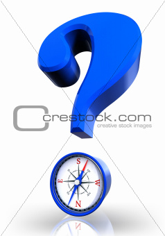 questionmark and compass blue symbol