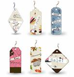 Vector set of 6 tags different shapes.