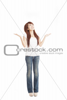 full length of happy young woman looking up
