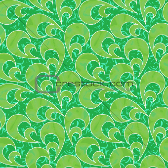 abstract flourish floral swirl green seamless background