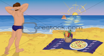 Couple on the beach having pizza