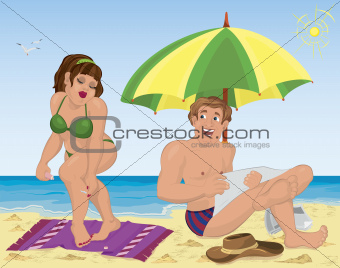 Smiling man and a woman applying lotion