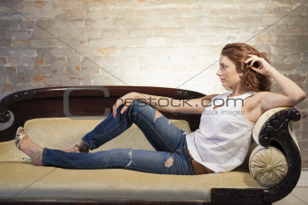 Attractive woman on the couch
