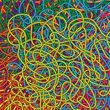 background with intricate rope rainbow of colors