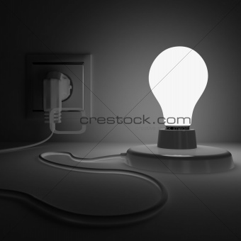Shone lamp with electric plug in a dark place