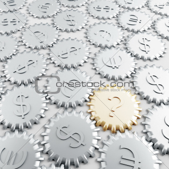 linked metallic gears with dollar and euro symbols