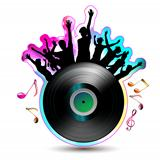 Vinyl record with silhouettes