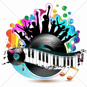 Piano keys with vinyl record