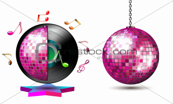 Vinyl record with disco ball