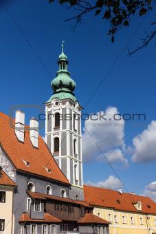 Tower in baroque style. Cesky Krumlov, Czech Republic.