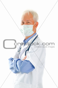 Stethoscope in a Asian maturemale doctor