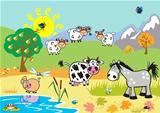 landscape with cartoon farm animals
