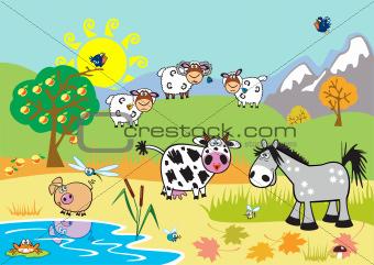 landscape with cartoon farm animals