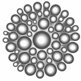 3d render abstract silver chrome flower shape