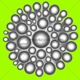3d render abstract silver chrome flower shape on green
