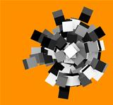 3d render silver chrome concentric cubes on orange