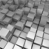 abstract 3d cube shape backdrop in silver chrome