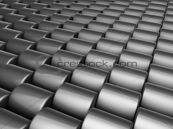abstract 3d render multiple silver chrome cylinder backdrop
