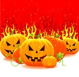 Vector illustration of red fire with pumpkins