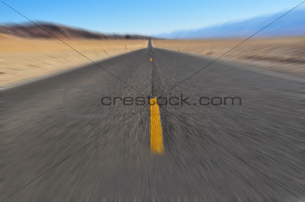 Road in Death Valley with motion blur