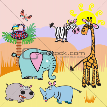 illustration with cartoon Africa animals