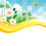 Vector illustration of summer back with grass