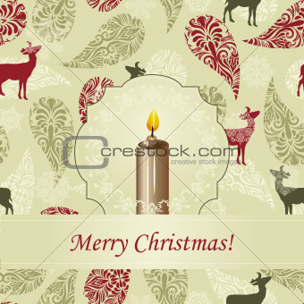 Vector Christmas Greeting Card with Candle