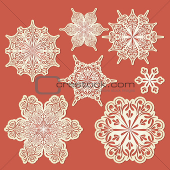 Vector Paper Cut Golden Snowflakes