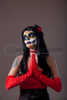 Praying Sugar skull girl