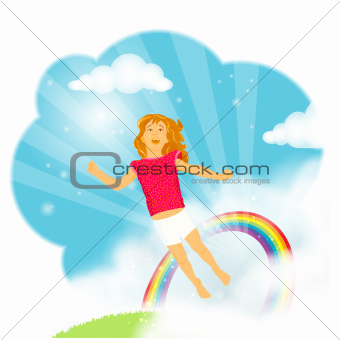 Little girl flying in the clouds