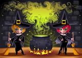 Funny witches with pot.