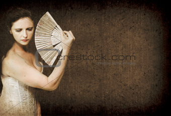 Vintage Woman Holding Retro Fan Classic Portrait